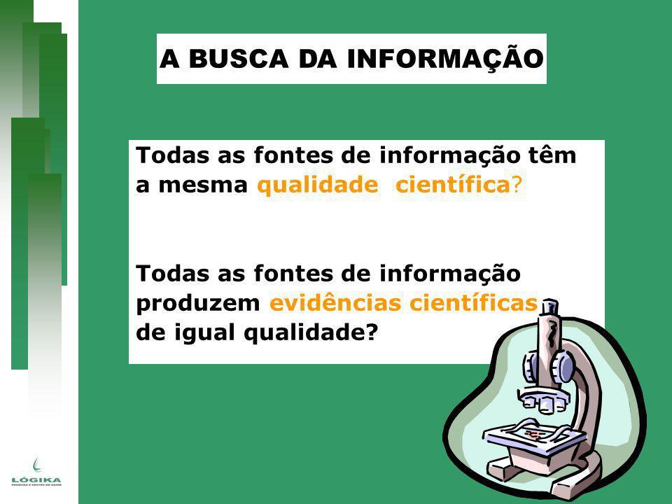 Todas as fontes de informação têm a mesma qualidade científica? Todas as fontes de informação produzem evidências científicas de igual qualidade? A BU