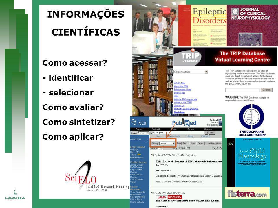 INFORMAÇÕES CIENTÍFICAS Como acessar? - identificar - selecionar Como avaliar? Como sintetizar? Como aplicar?