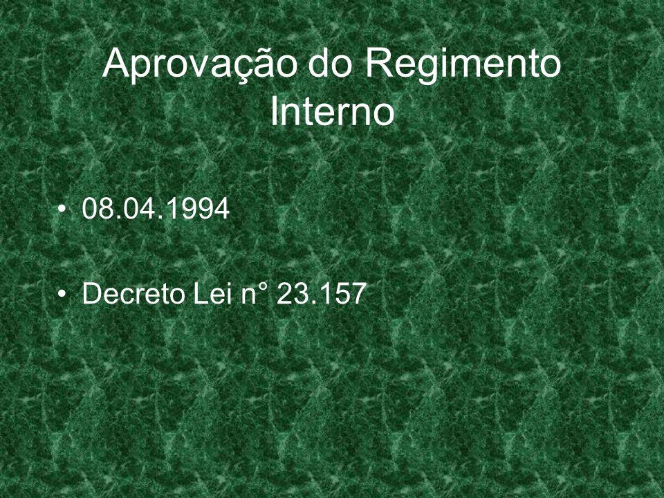 Aprovação do Regimento Interno 08.04.1994 Decreto Lei n° 23.157