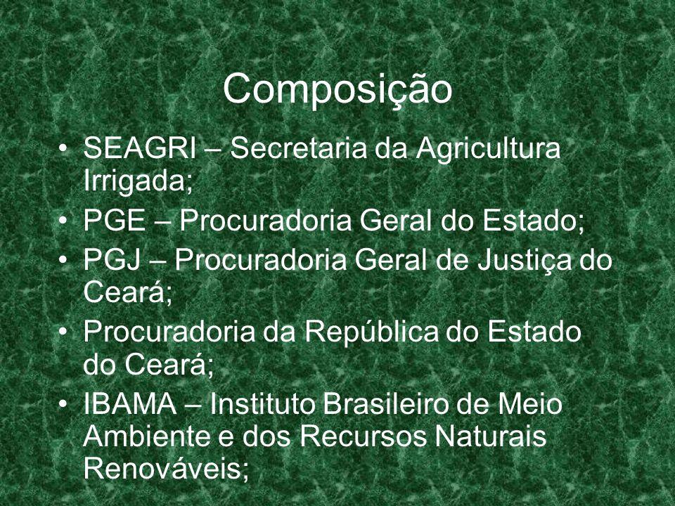 Composição OAB – Ordem dos Advogados do Brasil; Assembléia Legislativa: Comissão do Meio Ambiente; Assembléia Legislativa: Comissão dos Recursos Hídricos; Sindicato dos Engenheiros do Estado do Ceará – SENGE; CEPEMA – Fundação Cultural Educacional Popular em defesa do Meio Ambiente;