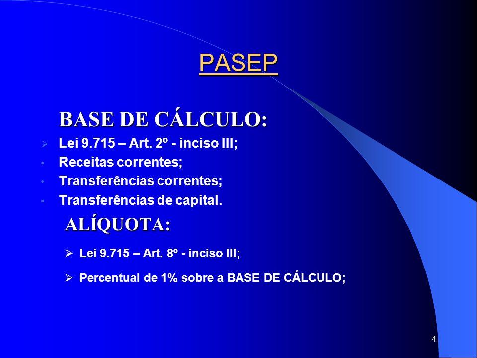 4 PASEP BASE DE CÁLCULO: Lei 9.715 – Art. 2º - inciso III; Receitas correntes; Transferências correntes; Transferências de capital.ALÍQUOTA: Lei 9.715