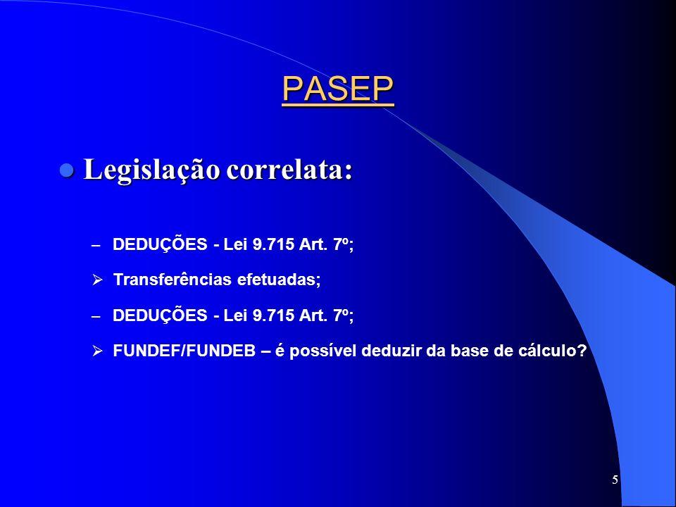 5 PASEP Legislação correlata: Legislação correlata: – DEDUÇÕES - Lei 9.715 Art. 7º; Transferências efetuadas; – DEDUÇÕES - Lei 9.715 Art. 7º; FUNDEF/F