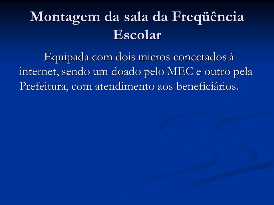 Montagem da sala da Freqüência Escolar Equipada com dois micros conectados à internet, sendo um doado pelo MEC e outro pela Prefeitura, com atendiment