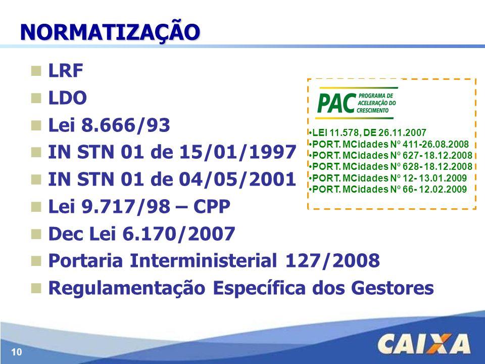 10 NORMATIZAÇÃO LRF LDO Lei 8.666/93 IN STN 01 de 15/01/1997 IN STN 01 de 04/05/2001 Lei 9.717/98 – CPP Dec Lei 6.170/2007 Portaria Interministerial 1