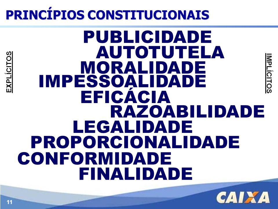 11 LEGALIDADE IMPESSOALIDADE MORALIDADE PUBLICIDADE EFICÁCIA AUTOTUTELA FINALIDADE RAZOABILIDADE PROPORCIONALIDADE CONFORMIDADE EXPLÍCITOS IMPLÍCITOS