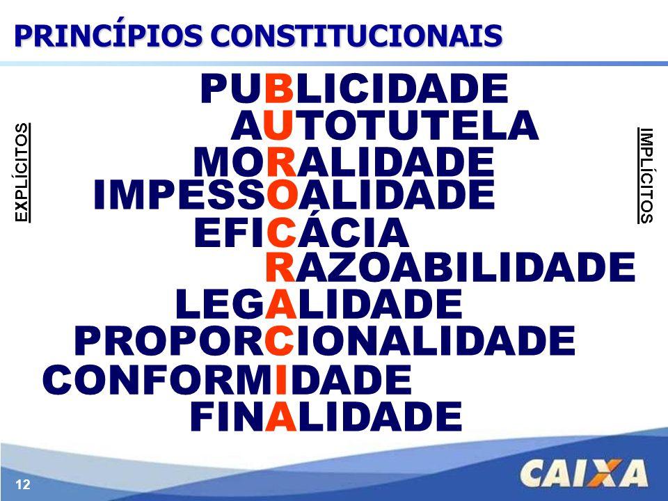 12 LEGALIDADE IMPESSOALIDADE MORALIDADE PUBLICIDADE EFICÁCIA AUTOTUTELA FINALIDADE RAZOABILIDADE PROPORCIONALIDADE CONFORMIDADE EXPLÍCITOS IMPLÍCITOS