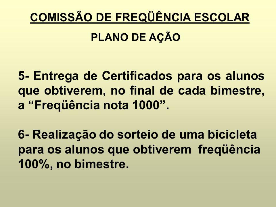 COMISSÃO DE FREQÜÊNCIA ESCOLAR PLANO DE AÇÃO 5- Entrega de Certificados para os alunos que obtiverem, no final de cada bimestre, a Freqüência nota 100