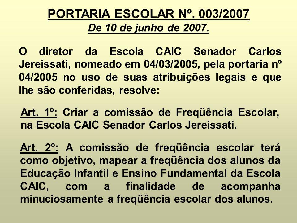 PORTARIA ESCOLAR Nº. 003/2007 De 10 de junho de 2007. O diretor da Escola CAIC Senador Carlos Jereissati, nomeado em 04/03/2005, pela portaria nº 04/2