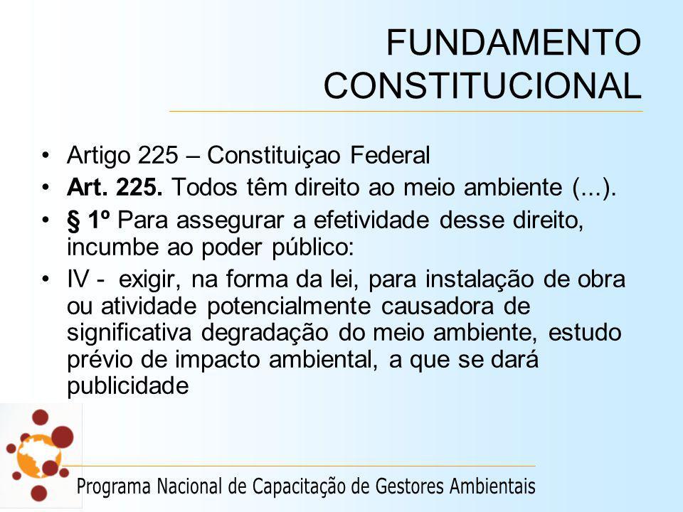 FUNDAMENTO CONSTITUCIONAL Artigo 225 – Constituiçao Federal Art. 225. Todos têm direito ao meio ambiente (...). § 1º Para assegurar a efetividade dess