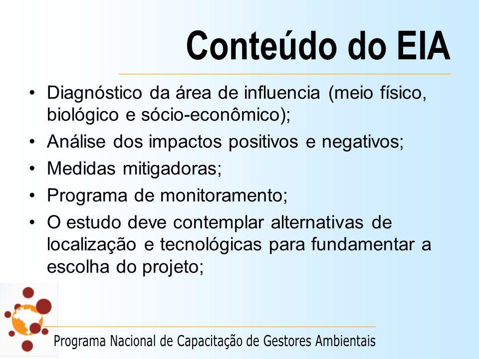 Conteúdo do EIA Diagnóstico da área de influencia (meio físico, biológico e sócio-econômico); Análise dos impactos positivos e negativos; Medidas miti