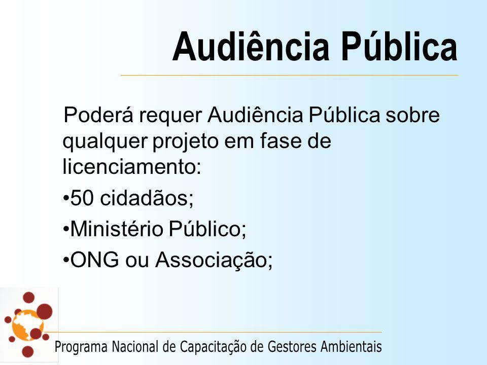 Audiência Pública Poderá requer Audiência Pública sobre qualquer projeto em fase de licenciamento: 50 cidadãos; Ministério Público; ONG ou Associação;