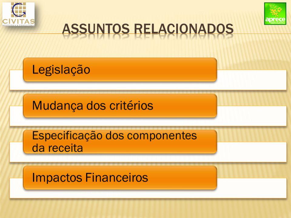 LegislaçãoMudança dos critérios Especificação dos componentes da receita Impactos Financeiros