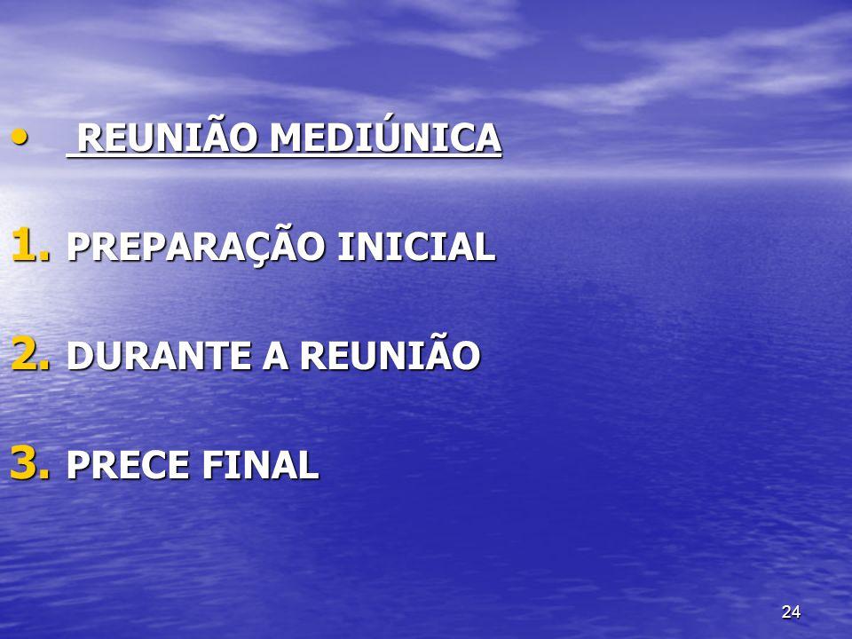 24 REUNIÃO MEDIÚNICA REUNIÃO MEDIÚNICA 1. PREPARAÇÃO INICIAL 2. DURANTE A REUNIÃO 3. PRECE FINAL