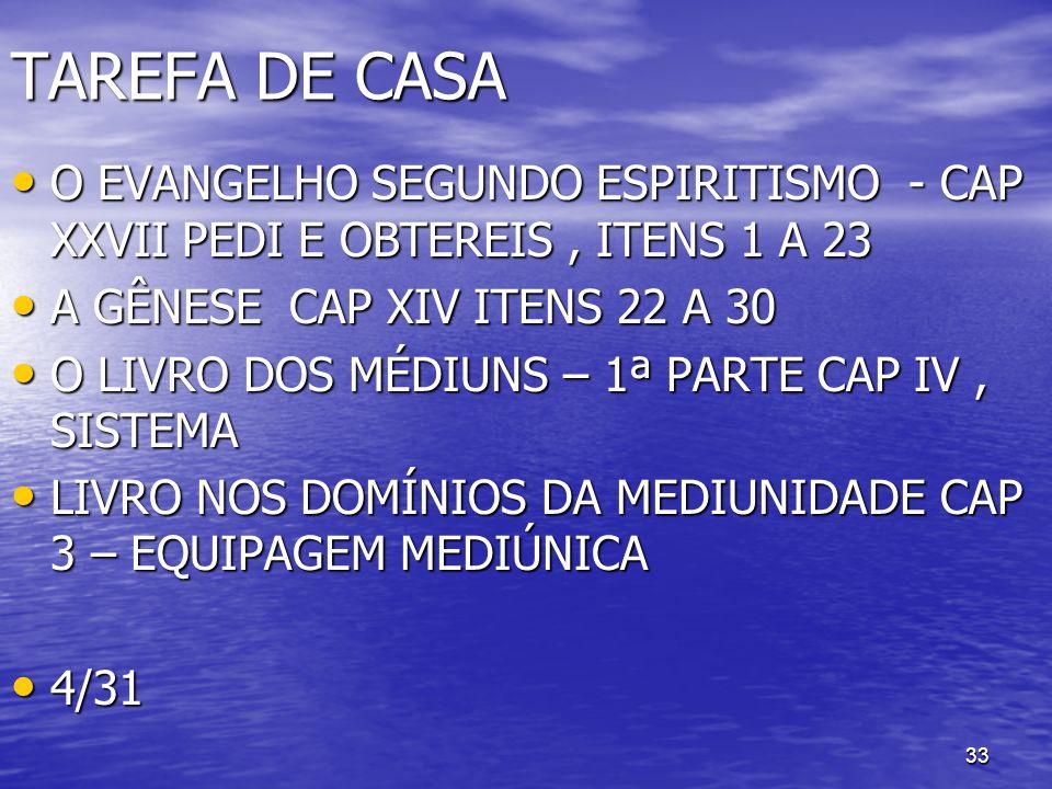33 TAREFA DE CASA O EVANGELHO SEGUNDO ESPIRITISMO - CAP XXVII PEDI E OBTEREIS, ITENS 1 A 23 O EVANGELHO SEGUNDO ESPIRITISMO - CAP XXVII PEDI E OBTEREI