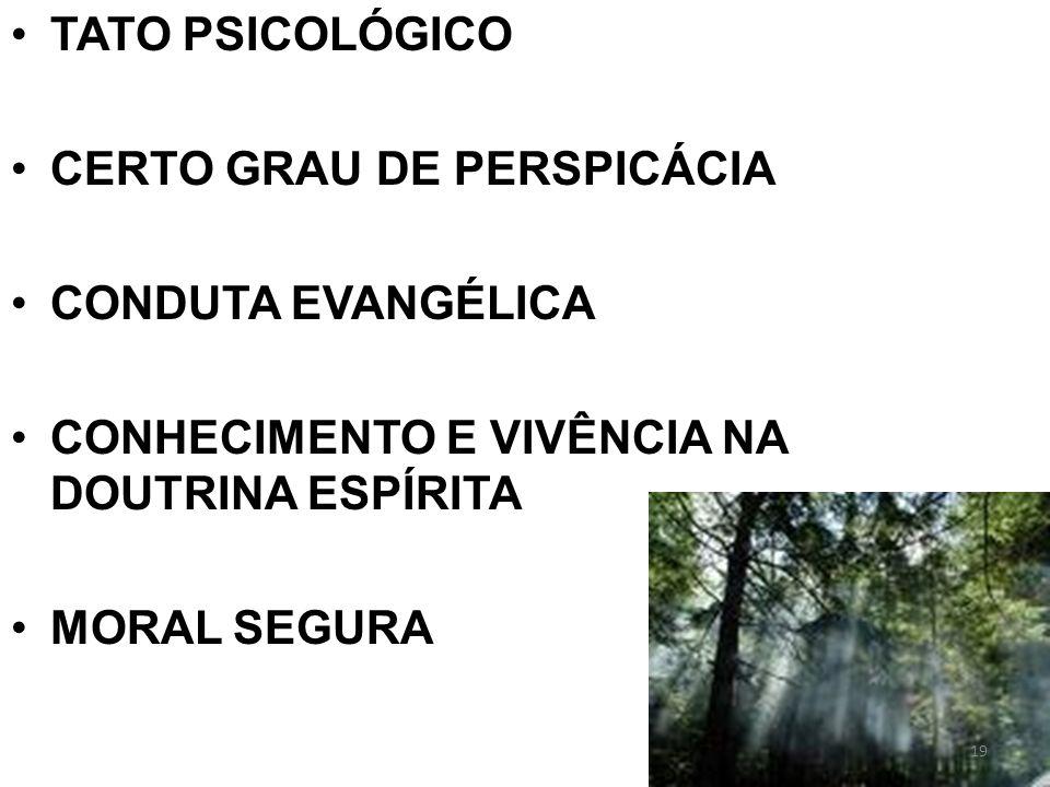 TATO PSICOLÓGICO CERTO GRAU DE PERSPICÁCIA CONDUTA EVANGÉLICA CONHECIMENTO E VIVÊNCIA NA DOUTRINA ESPÍRITA MORAL SEGURA 19