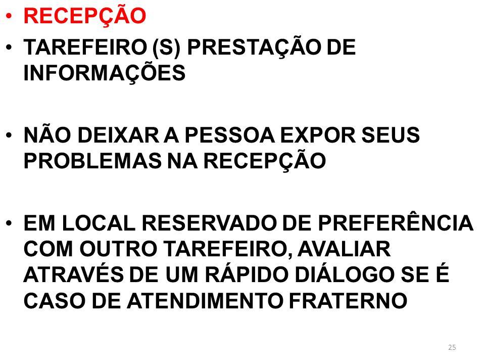RECEPÇÃO TAREFEIRO (S) PRESTAÇÃO DE INFORMAÇÕES NÃO DEIXAR A PESSOA EXPOR SEUS PROBLEMAS NA RECEPÇÃO EM LOCAL RESERVADO DE PREFERÊNCIA COM OUTRO TAREF