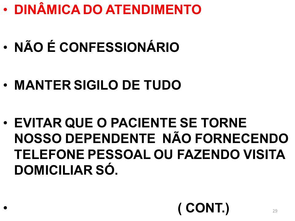 DINÂMICA DO ATENDIMENTO NÃO É CONFESSIONÁRIO MANTER SIGILO DE TUDO EVITAR QUE O PACIENTE SE TORNE NOSSO DEPENDENTE NÃO FORNECENDO TELEFONE PESSOAL OU