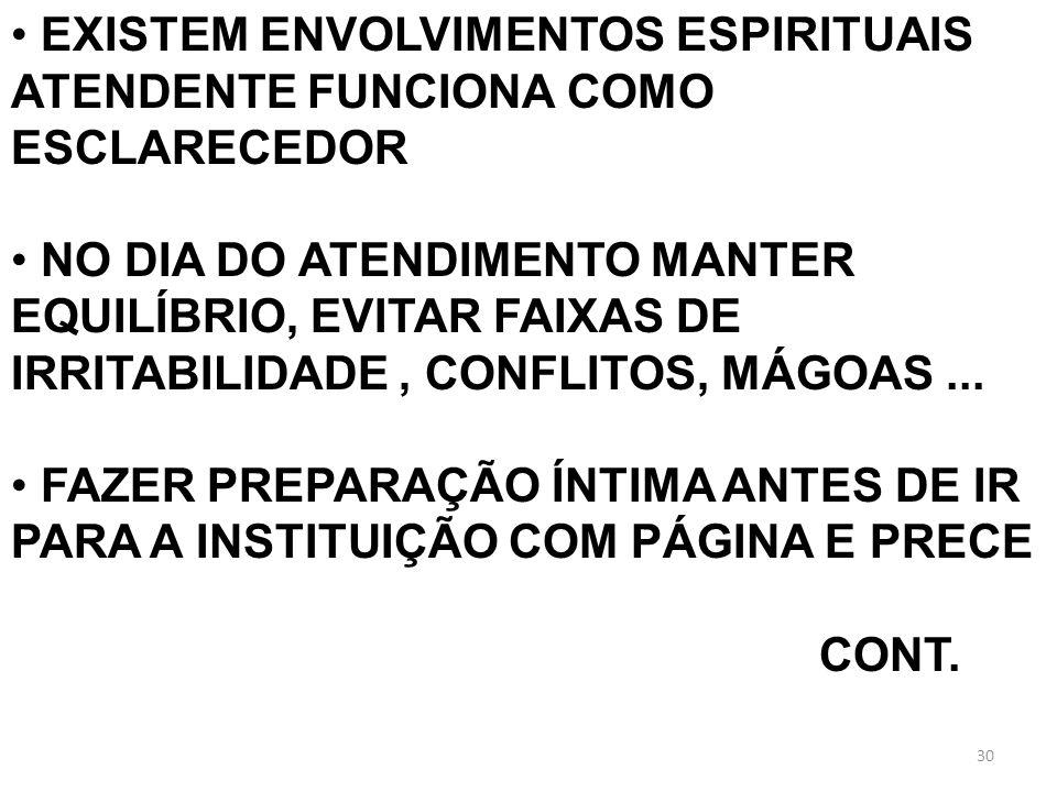 EXISTEM ENVOLVIMENTOS ESPIRITUAIS ATENDENTE FUNCIONA COMO ESCLARECEDOR NO DIA DO ATENDIMENTO MANTER EQUILÍBRIO, EVITAR FAIXAS DE IRRITABILIDADE, CONFL