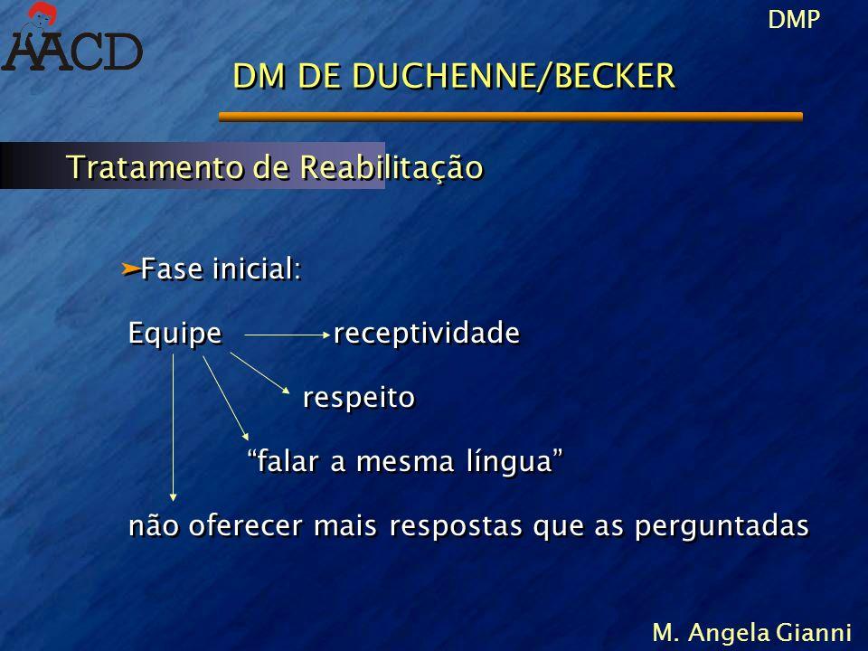 DMP M. Angela Gianni DM DE DUCHENNE/BECKER äFase inicial: Equipe receptividade respeito falar a mesma língua não oferecer mais respostas que as pergun