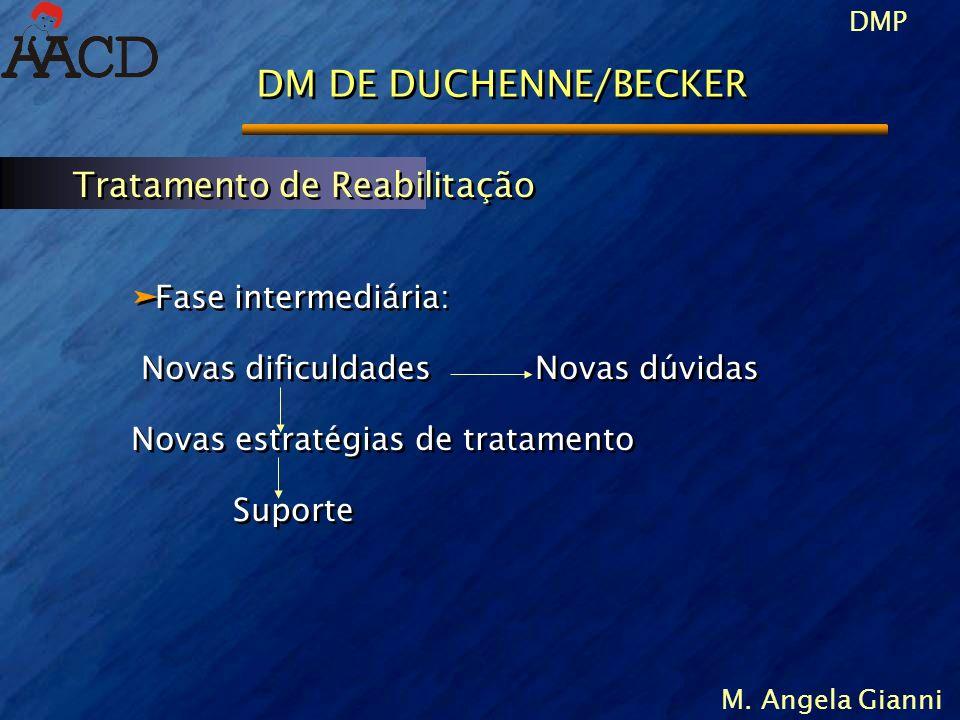 DMP M. Angela Gianni DM DE DUCHENNE/BECKER äFase intermediária: Novas dificuldades Novas dúvidas Novas estratégias de tratamento Suporte äFase interme
