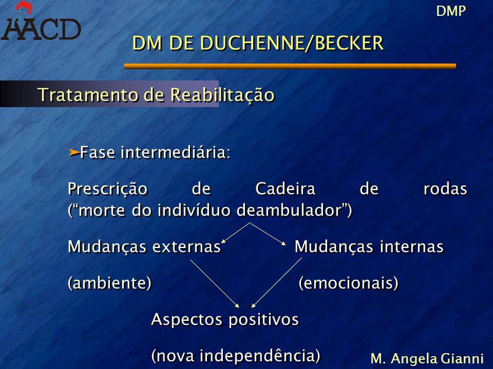 DMP M. Angela Gianni DM DE DUCHENNE/BECKER äFase intermediária: Prescrição de Cadeira de rodas (morte do indivíduo deambulador) Mudanças externas Muda