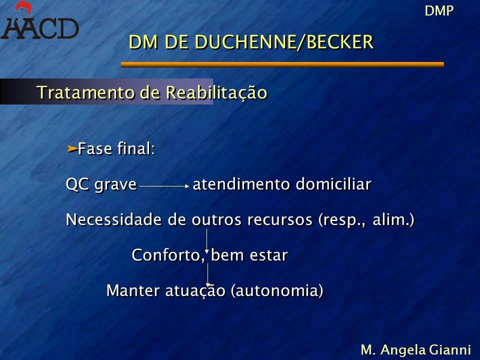 DMP M. Angela Gianni DM DE DUCHENNE/BECKER äFase final: QC grave atendimento domiciliar Necessidade de outros recursos (resp., alim.) Conforto, bem es