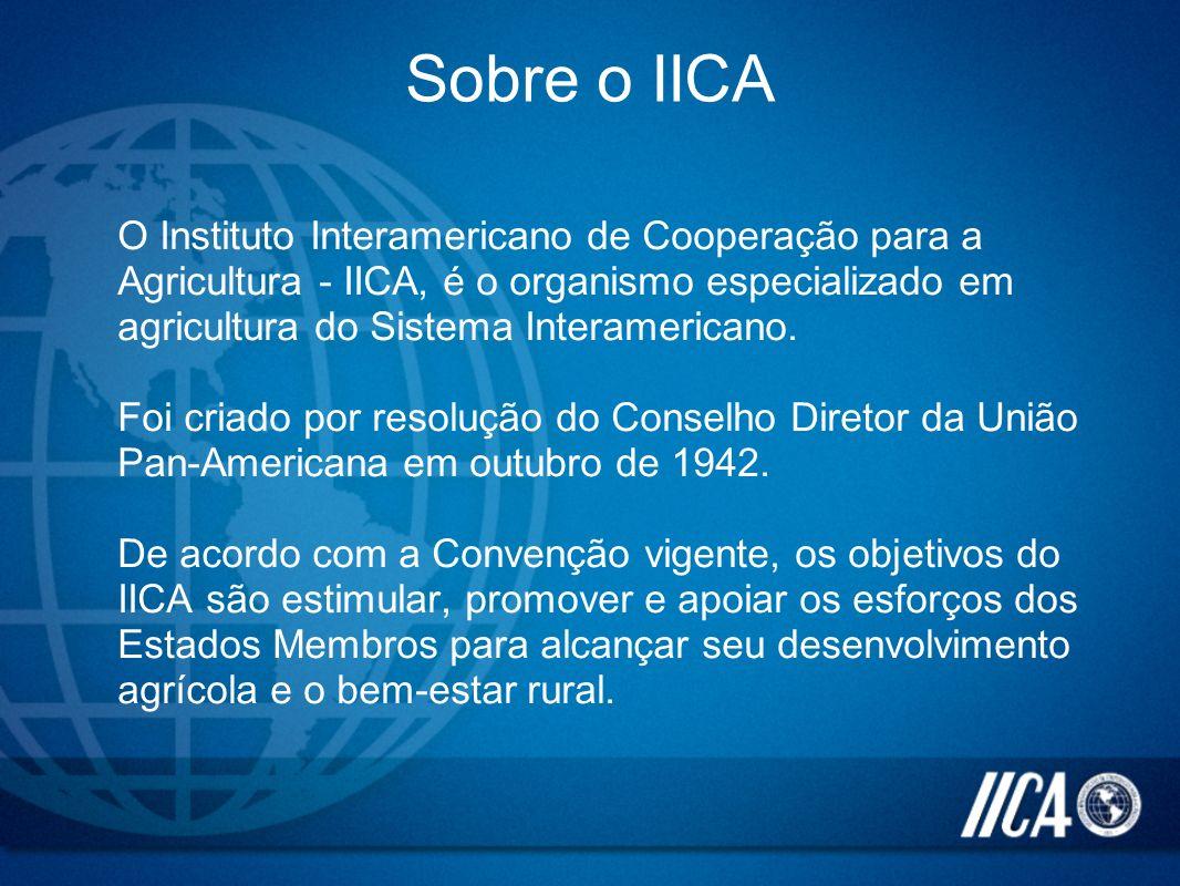 Sobre o IICA O Instituto Interamericano de Cooperação para a Agricultura - IICA, é o organismo especializado em agricultura do Sistema Interamericano.