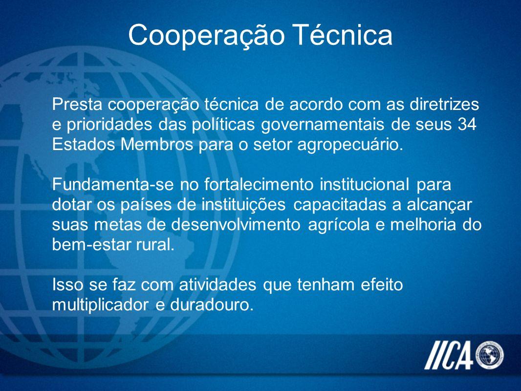 Cooperação Técnica Presta cooperação técnica de acordo com as diretrizes e prioridades das políticas governamentais de seus 34 Estados Membros para o