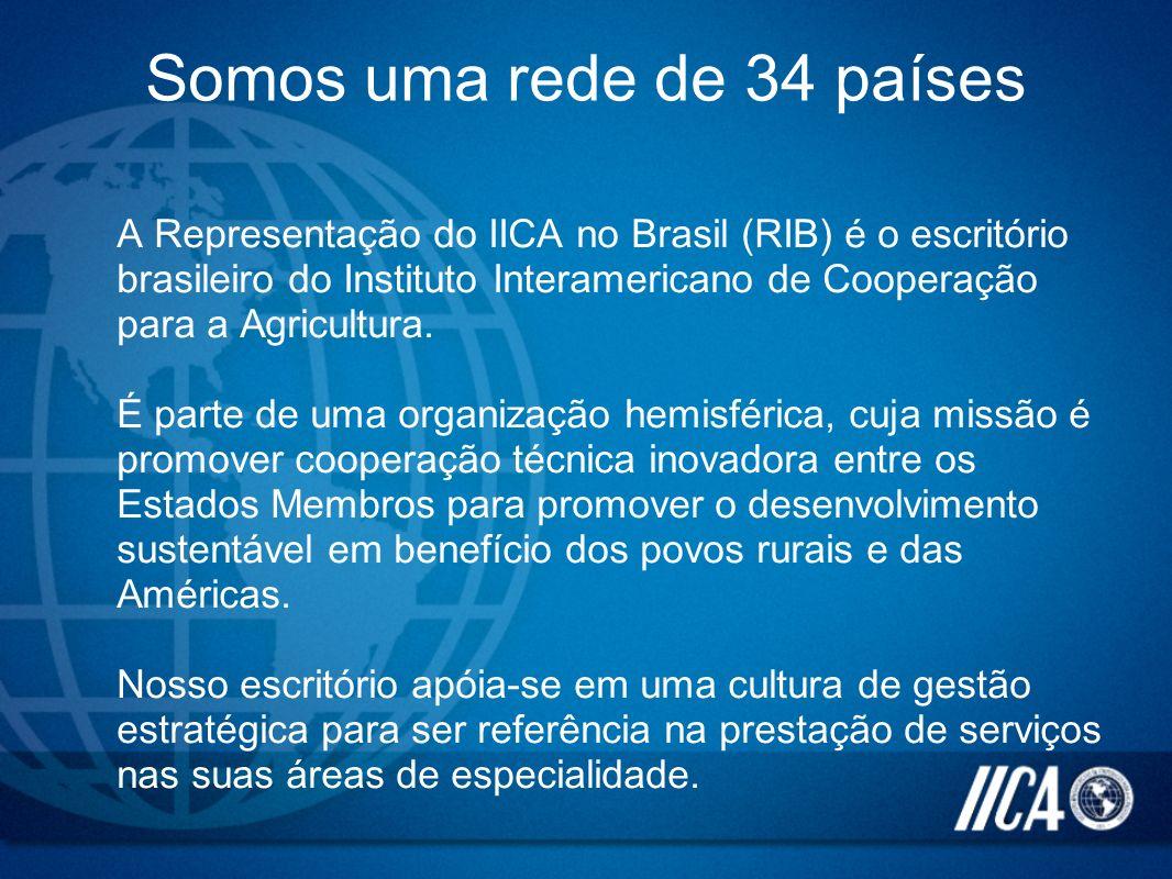 Somos uma rede de 34 países A Representação do IICA no Brasil (RIB) é o escritório brasileiro do Instituto Interamericano de Cooperação para a Agricul