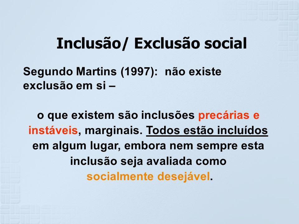 Inclusão/ Exclusão social Segundo Martins (1997): não existe exclusão em si – o que existem são inclusões precárias e instáveis, marginais. Todos estã
