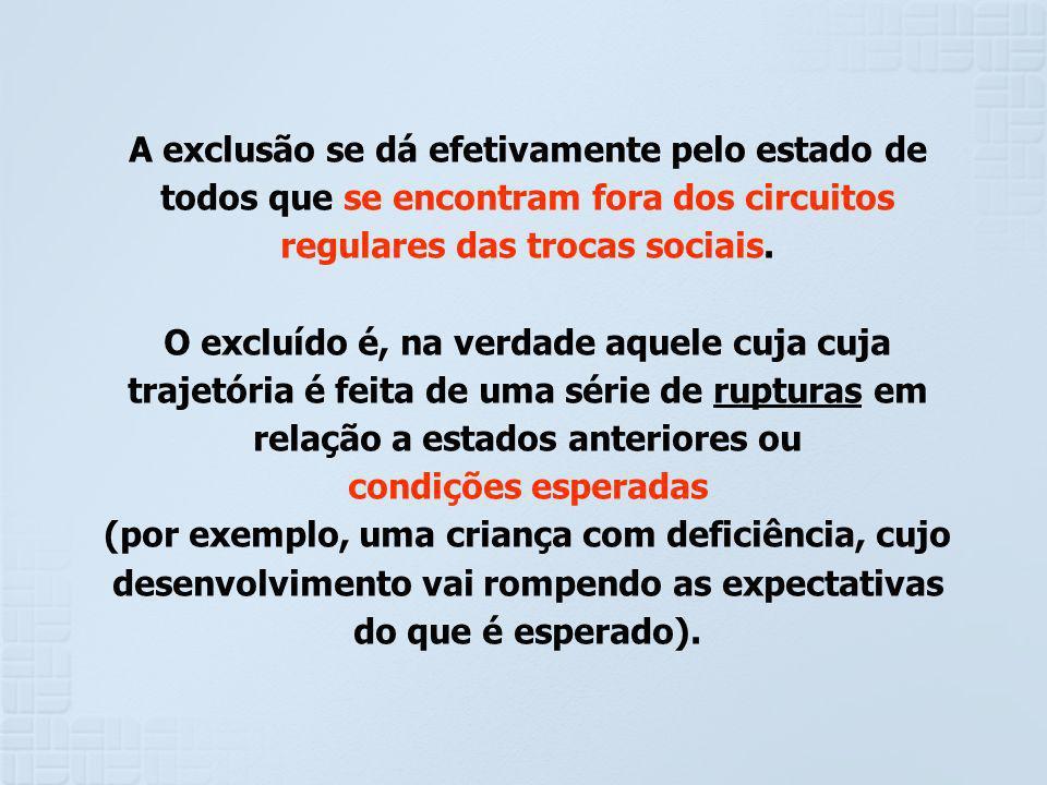 A exclusão se dá efetivamente pelo estado de todos que se encontram fora dos circuitos regulares das trocas sociais. O excluído é, na verdade aquele c