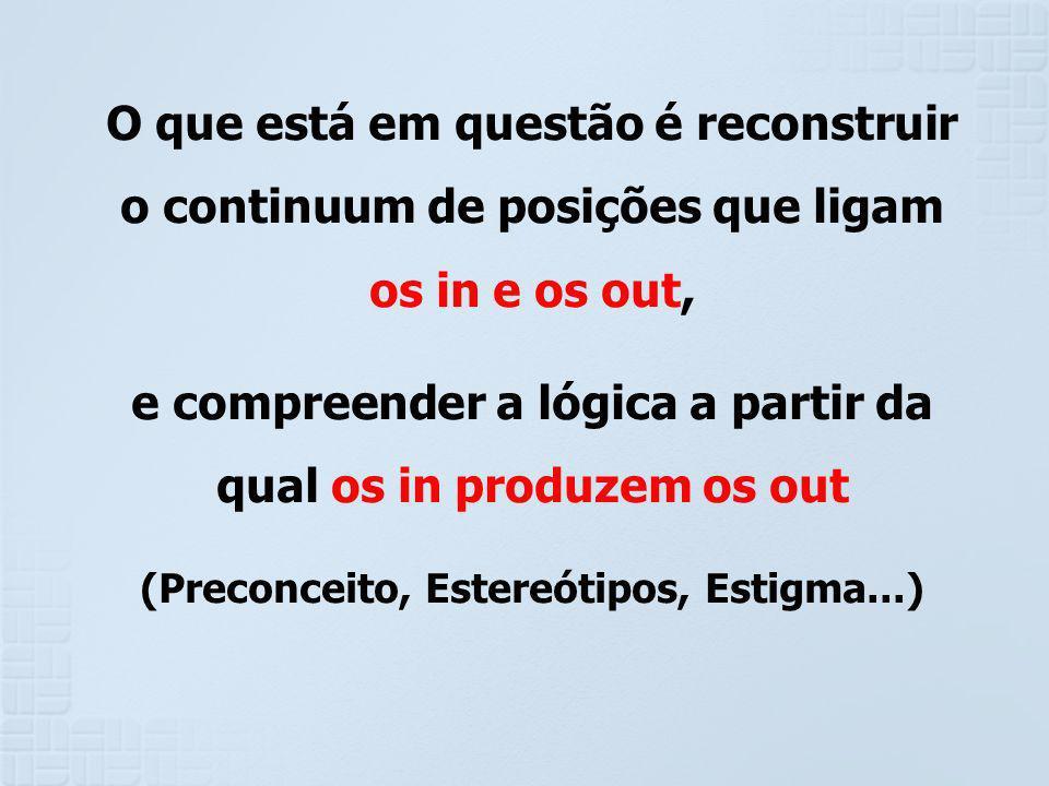 O que está em questão é reconstruir o continuum de posições que ligam os in e os out, e compreender a lógica a partir da qual os in produzem os out (P