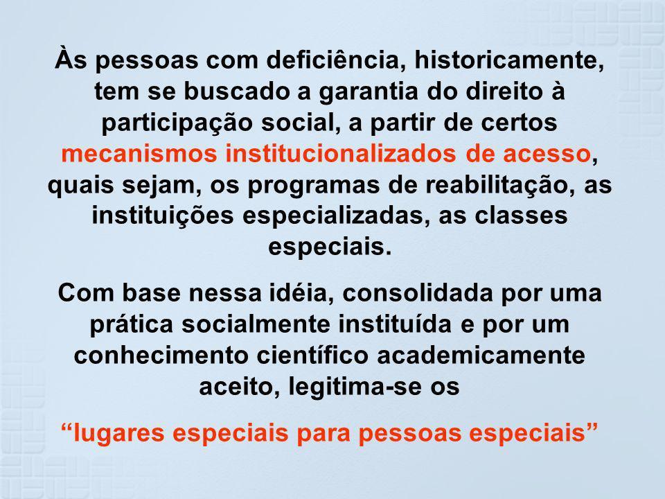 Às pessoas com deficiência, historicamente, tem se buscado a garantia do direito à participação social, a partir de certos mecanismos institucionaliza