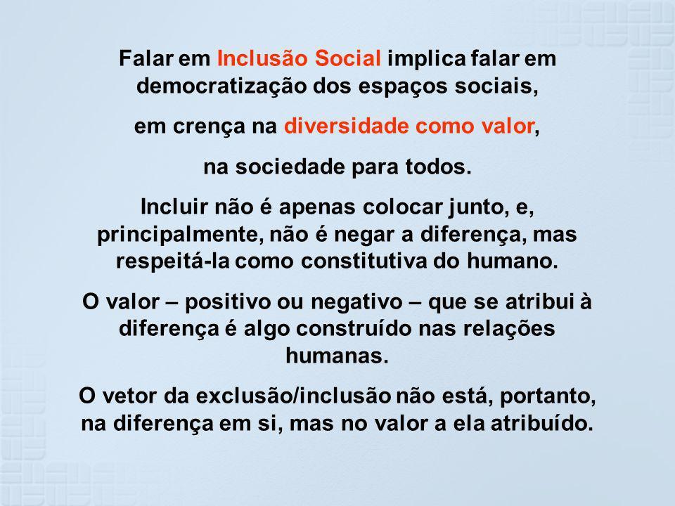 Falar em Inclusão Social implica falar em democratização dos espaços sociais, em crença na diversidade como valor, na sociedade para todos. Incluir nã