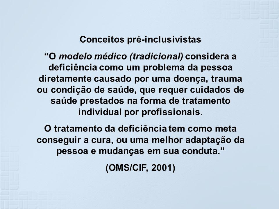 Conceitos pré-inclusivistas O modelo médico (tradicional) considera a deficiência como um problema da pessoa diretamente causado por uma doença, traum