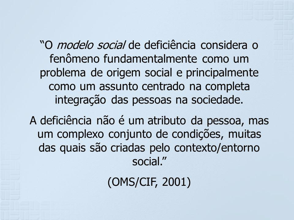 O modelo social de deficiência considera o fenômeno fundamentalmente como um problema de origem social e principalmente como um assunto centrado na co