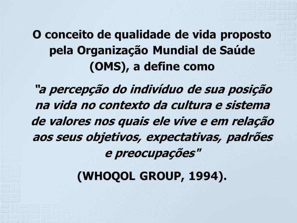 O conceito de qualidade de vida proposto pela Organização Mundial de Saúde (OMS), a define como a percepção do indivíduo de sua posição na vida no con