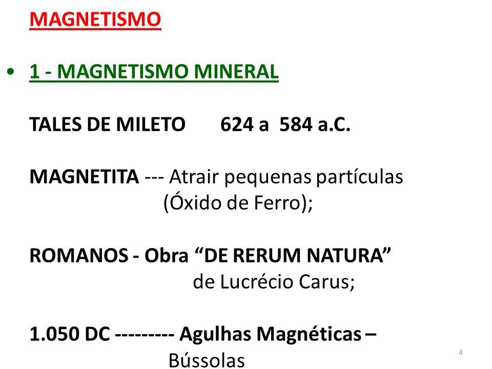 4 MAGNETISMO 1 - MAGNETISMO MINERAL TALES DE MILETO 624 a 584 a.C. MAGNETITA --- Atrair pequenas partículas (Óxido de Ferro); ROMANOS - Obra DE RERUM