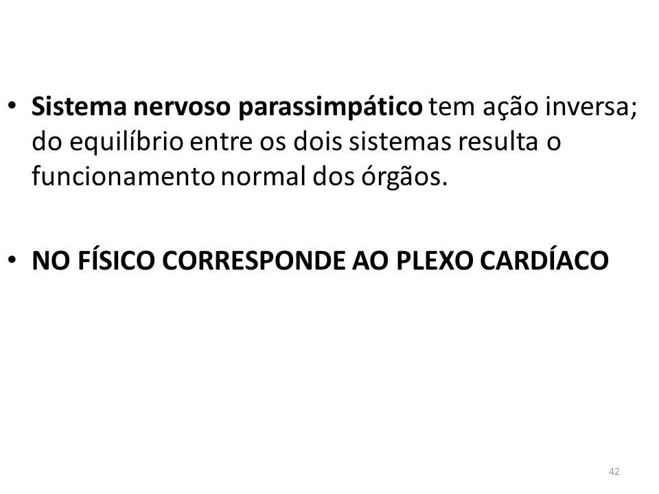 42 Sistema nervoso parassimpático tem ação inversa; do equilíbrio entre os dois sistemas resulta o funcionamento normal dos órgãos. NO FÍSICO CORRESPO