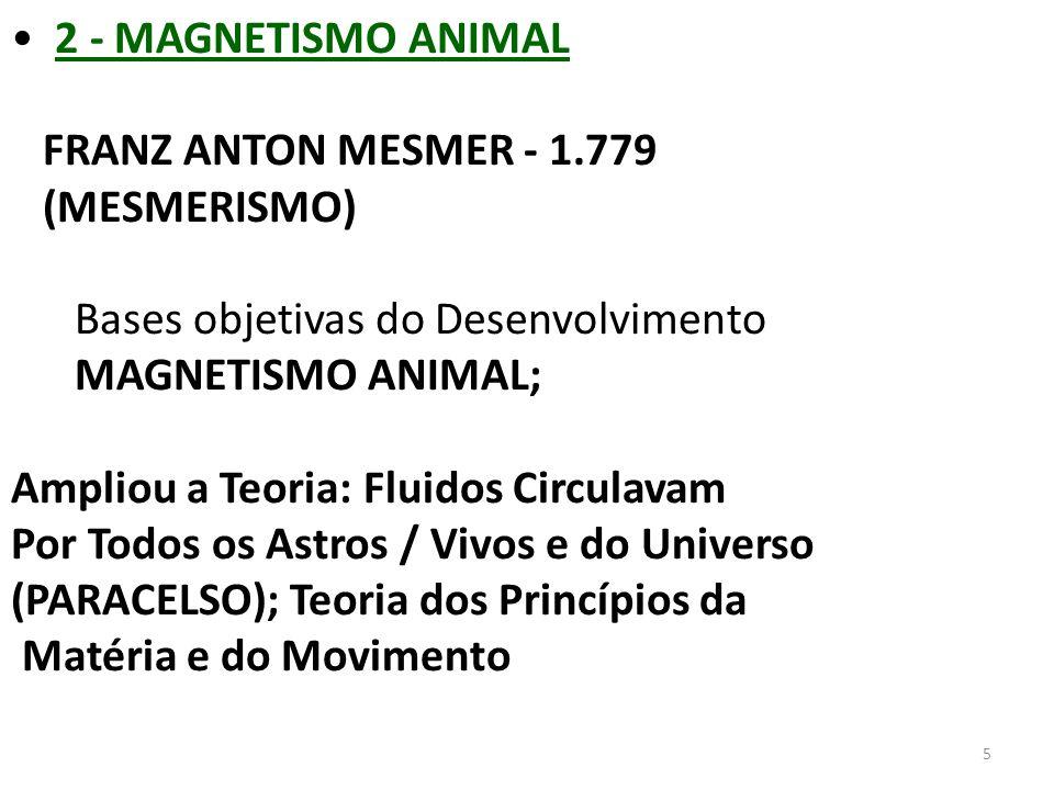 5 2 - MAGNETISMO ANIMAL FRANZ ANTON MESMER - 1.779 (MESMERISMO) Bases objetivas do Desenvolvimento MAGNETISMO ANIMAL; Ampliou a Teoria: Fluidos Circul