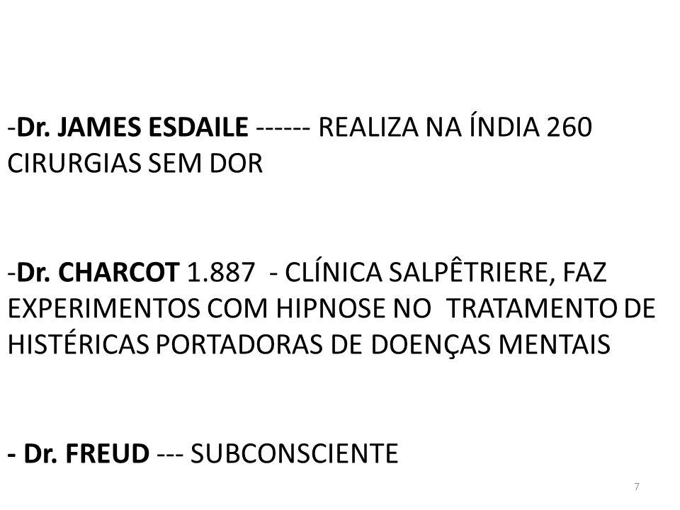 7 -Dr. JAMES ESDAILE ------ REALIZA NA ÍNDIA 260 CIRURGIAS SEM DOR -Dr. CHARCOT 1.887 - CLÍNICA SALPÊTRIERE, FAZ EXPERIMENTOS COM HIPNOSE NO TRATAMENT
