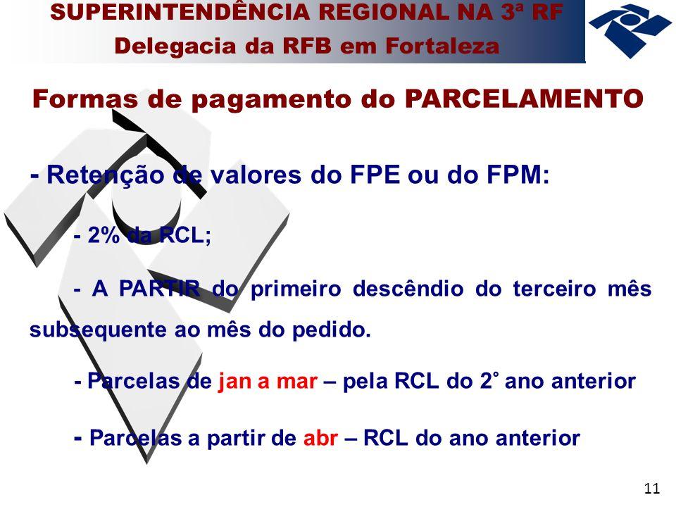 11 - Retenção de valores do FPE ou do FPM: - 2% da RCL; - A PARTIR do primeiro descêndio do terceiro mês subsequente ao mês do pedido.