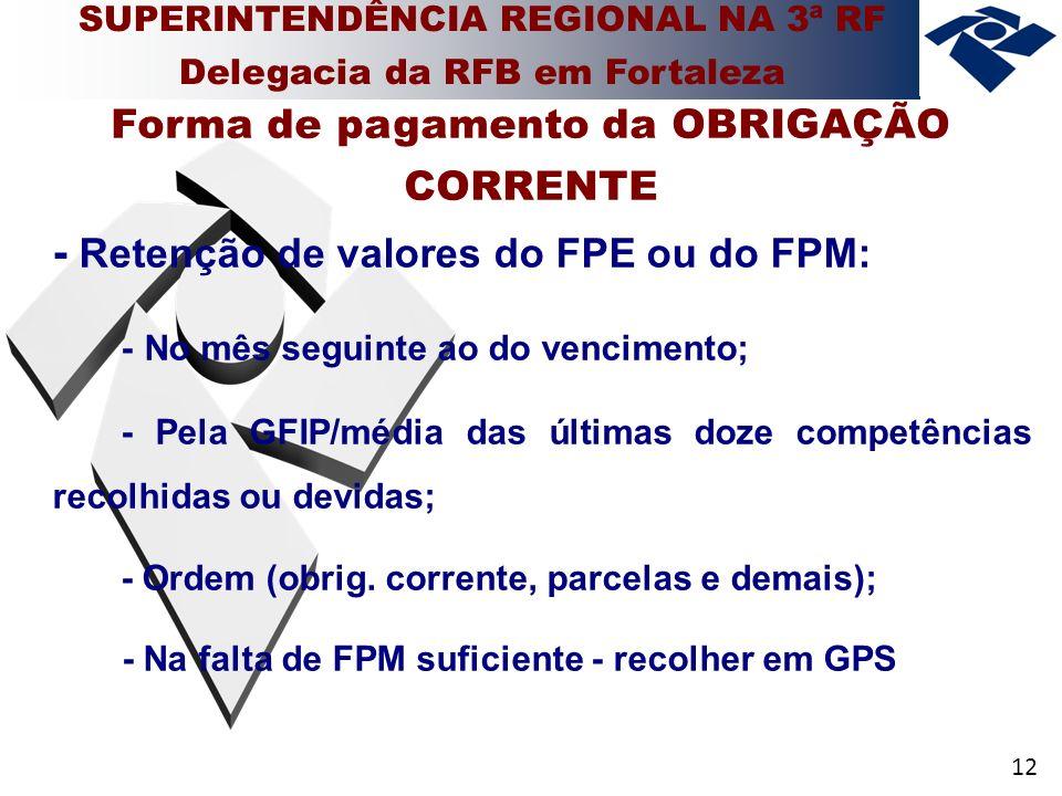12 - Retenção de valores do FPE ou do FPM: - No mês seguinte ao do vencimento; - Pela GFIP/média das últimas doze competências recolhidas ou devidas; - Ordem (obrig.