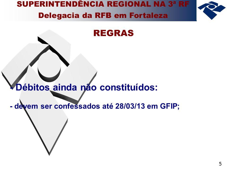 5 - Débitos ainda não constituídos: - devem ser confessados até 28/03/13 em GFIP; REGRAS SUPERINTENDÊNCIA REGIONAL NA 3ª RF Delegacia da RFB em Fortaleza