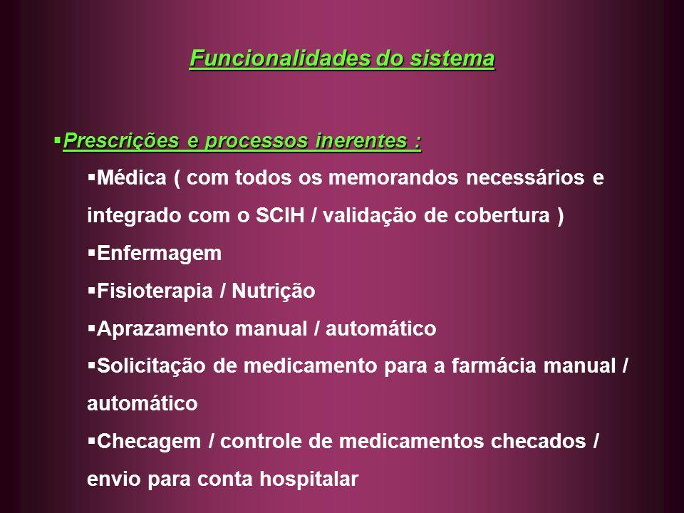 Funcionalidades do sistema Prescrições e processos inerentes : Prescrições e processos inerentes : Médica ( com todos os memorandos necessários e inte