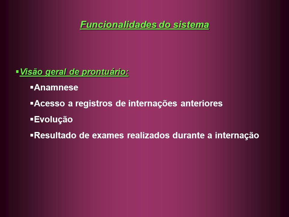 Funcionalidades do sistema Visão geral de prontuário: Visão geral de prontuário: Anamnese Acesso a registros de internações anteriores Evolução Result