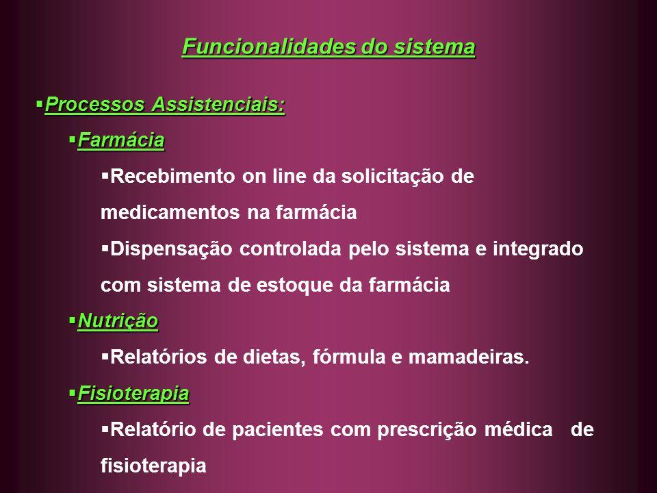 Funcionalidades do sistema Processos Assistenciais: Processos Assistenciais: Farmácia Farmácia Recebimento on line da solicitação de medicamentos na f