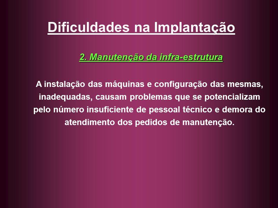 Dificuldades na Implantação 2. Manutenção da infra-estrutura A instalação das máquinas e configuração das mesmas, inadequadas, causam problemas que se