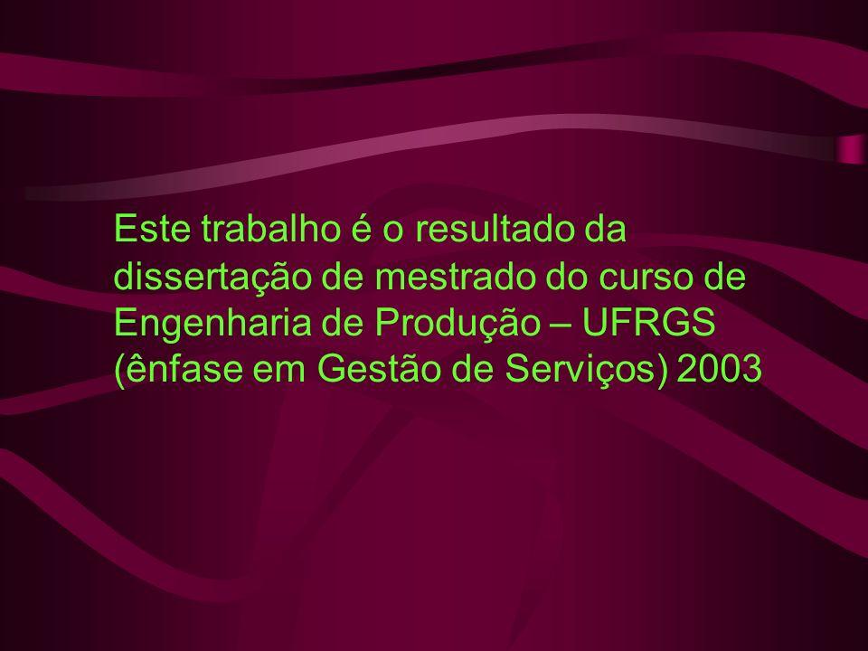 Este trabalho é o resultado da dissertação de mestrado do curso de Engenharia de Produção – UFRGS (ênfase em Gestão de Serviços) 2003