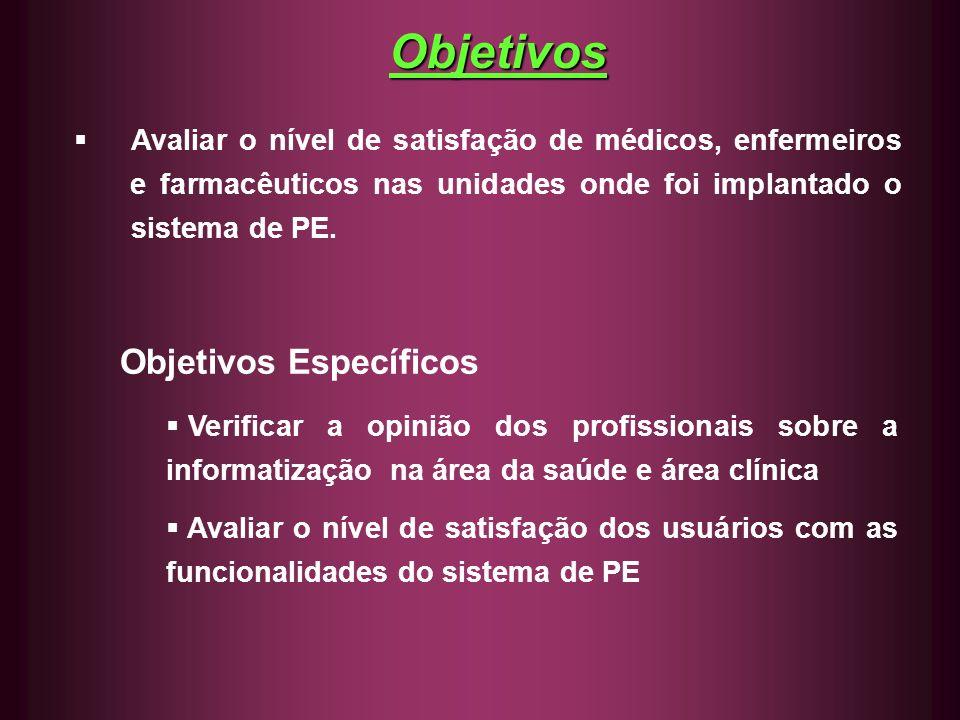 Avaliar o nível de satisfação de médicos, enfermeiros e farmacêuticos nas unidades onde foi implantado o sistema de PE. Objetivos Específicos Verifica